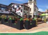 景區戶外實木防腐木防古花箱定製--樓盤開業裝飾花盆
