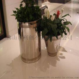 不锈钢圆形金属花盆简约