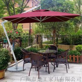 供应花园休闲藤桌椅 定制仿藤家具桌椅带罗马伞
