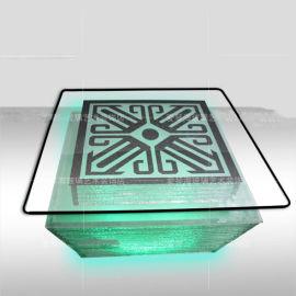 广州厂家定制2019KTV发光玻璃茶几新款式