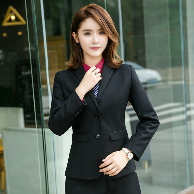 新款職業套裝女西服黑色潮流時尚職業西裝工作服