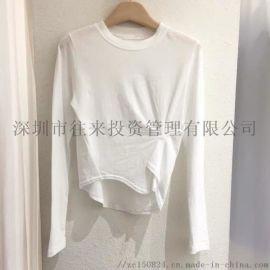 小心机纽扣纯色圆领褶皱时尚长袖T恤 修改 本产品支持七天无理由退货
