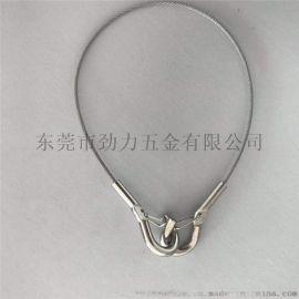 钢丝绳铆压保险钩 不锈钢端子安全绳索具