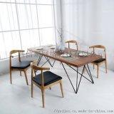 菱梭腳厚方合桌 平樂實木鐵質家具 橫縣創枝搭屏桌