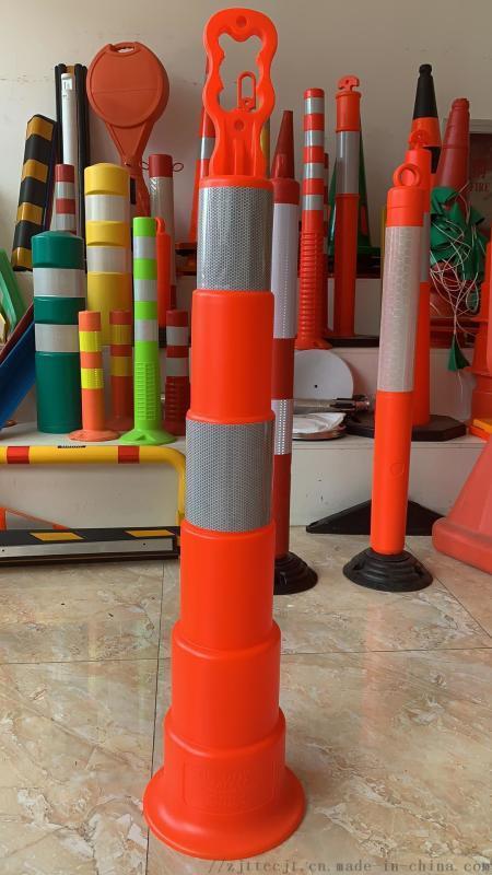 移动PE警示柱柱道口标柱诱导柱塑料反光柱 橡胶底座