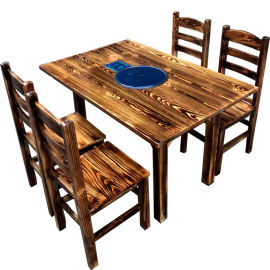 实木仿古八仙桌 中式饭店面馆8人方桌休闲农庄餐桌椅