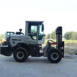越野叉车工程山路泥泞地货运用3吨四驱叉车带侧移架