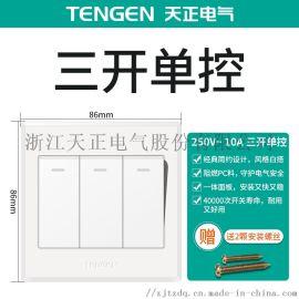 天正电气(TENGEN)K1 开关类 三位 单控/双控 大板荧光开关 白色 家用墙壁86型带荧光开关 面板开关