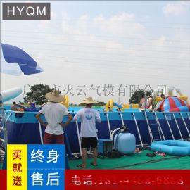 户外大型支架水池游泳池充气水上乐园儿童充气水池游泳池滑梯设备