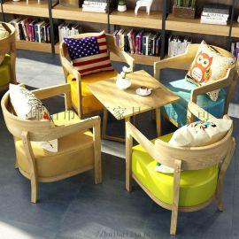 定制簡約清新 休閒洽談接待桌椅單人沙發組合