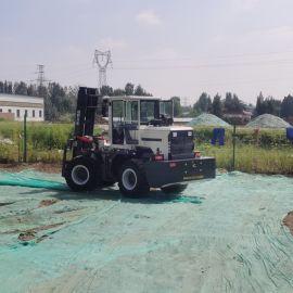 四驱柴油叉车3吨 工厂码头工地后转向液压内燃堆高车