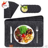 定製方形毛氈西餐墊杯墊刀叉袋6件套可清洗餐墊隔熱
