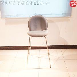 不锈钢吧椅 高脚吧椅靠背椅**吧奶茶店甲壳虫轻奢
