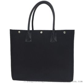 帆布硬质黑色手提购物袋