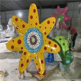 户外玻璃钢植物雕塑 佛山玻璃钢彩绘花朵雕塑