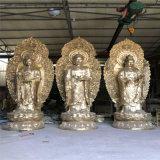 木雕佛像厂 木雕西方三圣厂家 铜雕西方三圣佛像