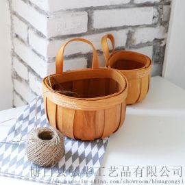 木质编织篮壁挂篮花篮储物篮