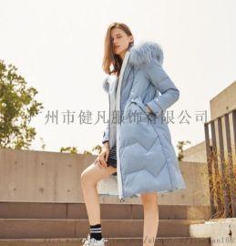 上海品牌折扣女装羽绒服防寒服 库存服装尾货