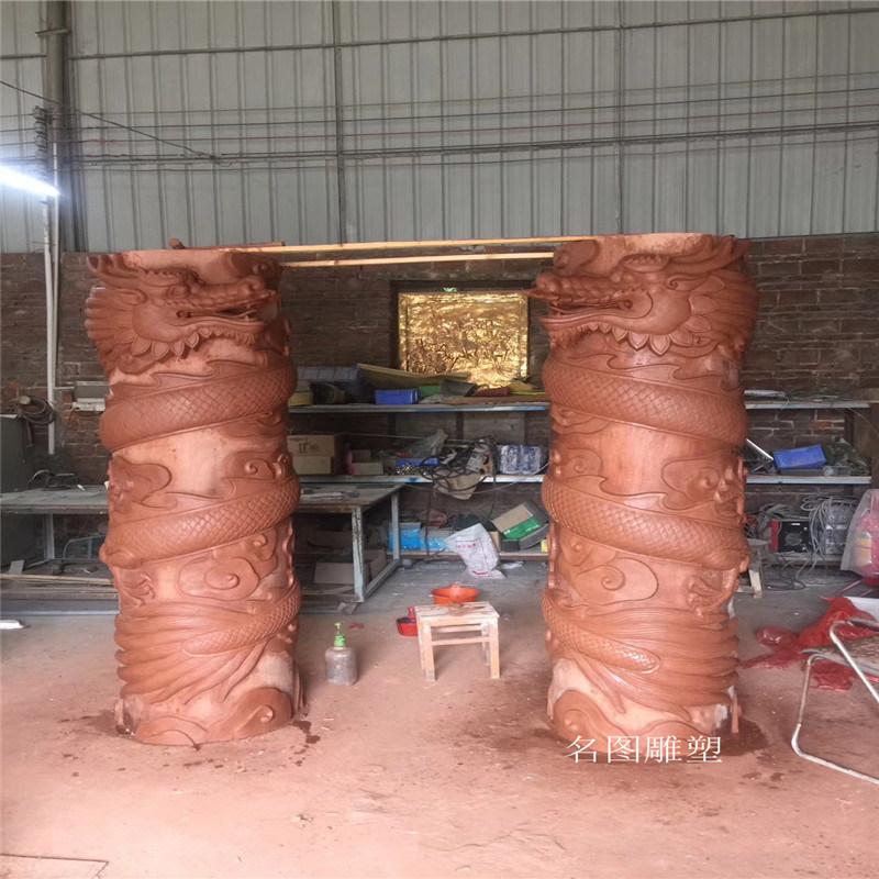 珠宝店门口玻璃钢龙凤柱雕塑 定制玻璃钢罗马柱造型