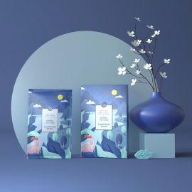 面膜纸盒制作,小清新插画包装盒