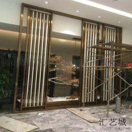 上海酒店  装饰不锈钢屏风 拉丝香槟金不锈钢屏风隔断