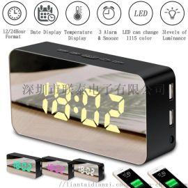 手機充電鏡面鬧鐘 貪睡聲控化妝鏡LED可變色時鐘