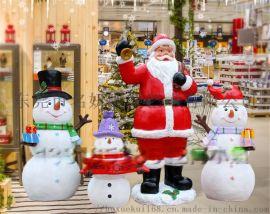 撩客的小宇宙玻璃钢圣诞老人卡通摆件景观圣诞鹿雕塑