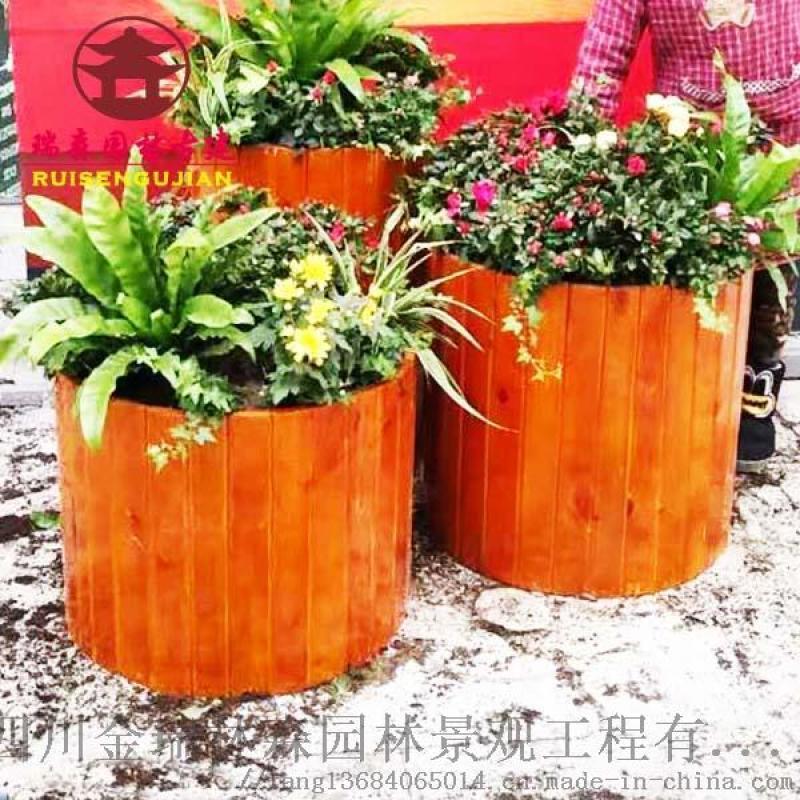 四川瑞森花箱制作厂,实木花箱,景观园林花箱厂家