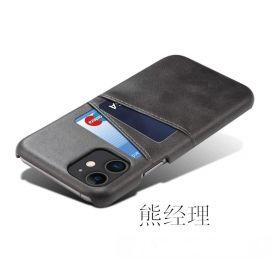 苹果手机保护套 手机皮套带卡槽 全包真皮外壳