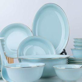 景德镇高温影青现代北欧金边陶瓷碗碟盘送礼餐具套装