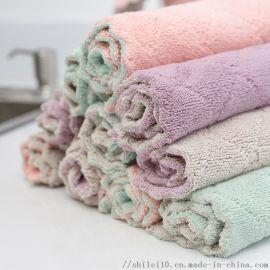 加厚双面百洁布珊瑚绒不粘油厨房洗碗巾强吸水