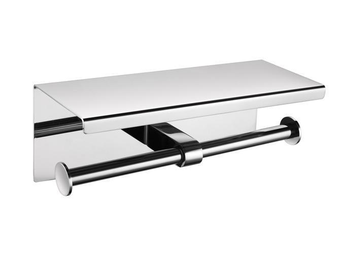 304不锈钢双卷纸架 壁挂式平板手纸架 厕纸箱