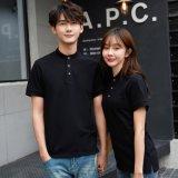 夏季工作制服韓版時尚運動t恤男女短袖T恤純棉簡約立領半袖上衣服