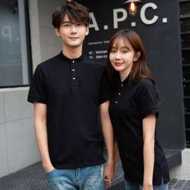 夏季工作制服韩版时尚运动t恤男女短袖T恤纯棉简约立领半袖上衣服