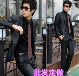 春秋男式職業裝工作服時尚修身西服套裝商務裝定做