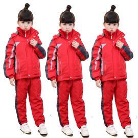 定做冬季高中小学生校服保暖防寒冬季加绒冲锋棉衣套装中学班服