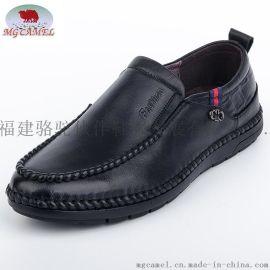 供应MG CAMEL男鞋真皮圆头低帮休闲皮鞋青年英伦柔软驾车头层牛皮商务男鞋