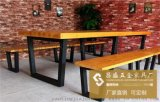 美式铁艺实木复古餐桌 工业风格家具酒店咖啡厅餐厅餐桌椅组合