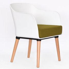 歐式休閒椅 咖啡廳塑木餐椅 塑料靠背椅