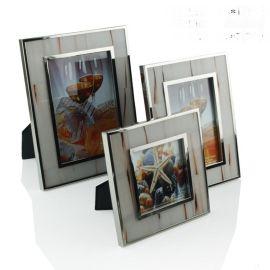 歐式現代不鏽鋼金屬邊框6寸7寸白色牛骨相框擺臺創意樣板間擺件