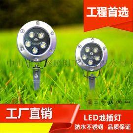 LED户外投射灯 户外防水不锈钢插地投光灯 花园庭院地插景观灯 室外草坪射树灯