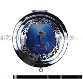 厂家直销不锈铁圆形化妆镜便携镂空镜背面激光LOGO