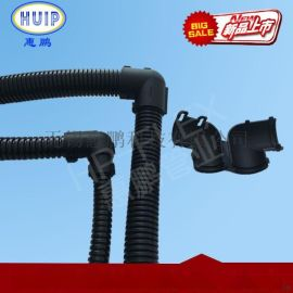 PA66尼龙材质波纹管90度弯通接头 软管直角对接 黑色现货 规格齐全