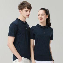 夏季冰蚕丝棉有翻领短袖T恤透气快速干POLO衫企业工衣服装工作服