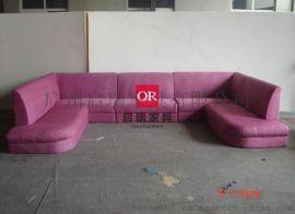简约现代沙发售楼处部洽谈区卡座沙发桌椅组合咖啡厅KTV沙发