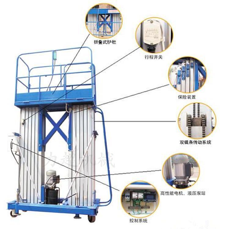 双柱铝合金升降机、电动升降机、移动升降机、升降平台济南厂家