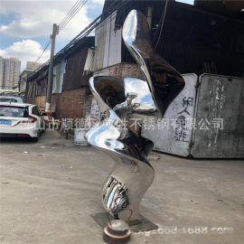 售楼部门口造型不锈钢镜面摆件雕塑  飘带扭弯不锈钢艺术雕塑实图
