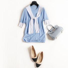 2017春夏新款五分袖针织衫 LO风格天丝领带针织衫