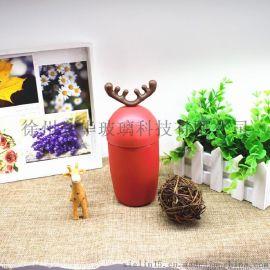 玻璃小鹿杯 麋鹿圣诞老人玻璃水杯子鹿角