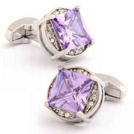 粉紫水晶时尚袖扣(MC-9743)